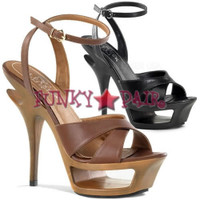 Deluxe-630, 5.5 Inch High Heel with 1.75 Inch Platform Cut Out Ankle Wrap Sandal