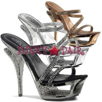 Deluxe-603, 5.5 Inch High Heel with 1.75 Inch Platform Cut Out Rhinestone Sandal
