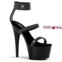 Adore-763, 7 Inch Stiletto Heel Double Strap Ankle Cuff Sandal