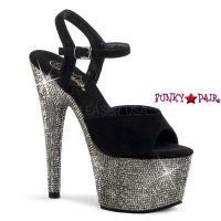 Bejeweled-709DM, 7 inch Platform Suede Ankle Stap with Rhinestones