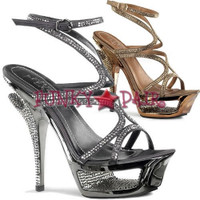 Deluxe-620RS, 5.5 Inch Heel with 1.75 inch cut out platform Strappy Rhinestone Sandal