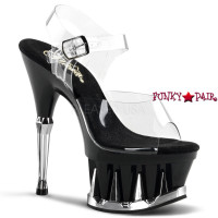 Spiky-608, 6 Inch High Heel with 2.75 Inch Platform Ankle Strap with Shark Teeth Spikes