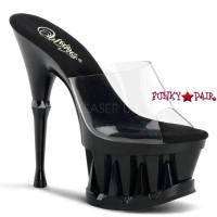 Spiky-601, 6.5 inch high heel with 2.75 inch platform Slide with Shark Teeth Spikes