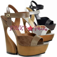 Swan-612, 6 Inch High Heel with 1.75 inch Platform Sculptured Ankle Strap