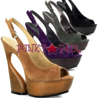 Swan-654, 6 Inch High Heel with 1.75 Inch Platform Sculptured Slingback Sandal