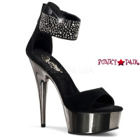 Delight-670, 6 inch high heel with 1.75 inch platform Ankle Cuff Rhinestones Close Back