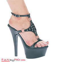 "601-Mover, 6 Inch High Heels with 1.75 Inch Platform W/""O"" rings and studs Made by ELLIE Shoes"
