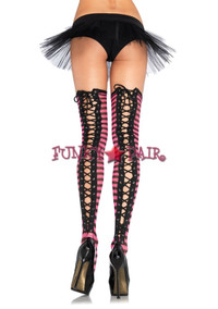 6618, Striped Fishnet Lace up Thigh High
