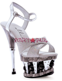 629-JANIE, 6 Inch High Heel with 1.75 Inch Platform Cross Strap Sandal Made by ELLIE Shoes