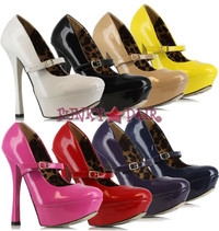 633-PAYTON, 6 Inch High Heel with 1.75 Inch Platform Mary Jane Pump Made by ELLIE Shoes