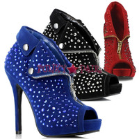 517-CHASTITY, , 5 Inch High Heel with 1/2 Inch Platform Ankle Boots with Rhinestones * Made by ELLIE Shoes
