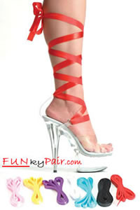 609-Bella, 6 Inch High Heel with 1.75 Inch Platform w/7 Ribbons Made by ELLIE Shoes