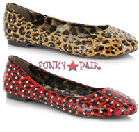 BP016-PENNY, Leopard Print Flat with Silver Studs Made By Bettie Page Shoes