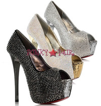 607-SUZETTE, 6 Inch Stiletto High heel with 1.75 Inch Platform studs Peep toe pump Made by ELLIE Shoes
