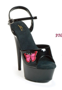 609-Butterfly, 6 Inch High Heel with 1.75 Inch Platform Exotic Dancer Shoes w/Butterfly Made by ELLIE Shoes