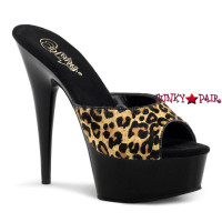 Delight-601LP, 6 inch high heel with 1.75 inch platform slide leopard