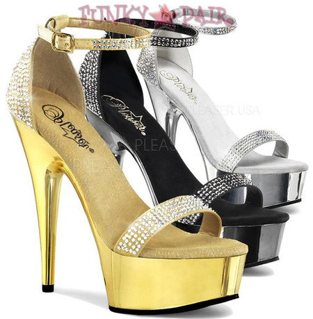 Delight-617RS, 6 Inch High Heel with 1.75 Inch Platform with Closed Back Rhinestones with Chrome Sandal