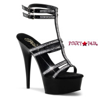 Delight-693, 6 inch High Heel with 1.75 inch Platform Strappy T-Strap Sandal