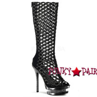 6 Inch Stiletto Heel Scalloped Cut Out Knee High Boots * Fantasia-2008