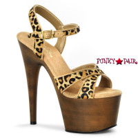 Adore-770FW, Leopard Print Ankle Strap with Faux Wood Bottom Shoes
