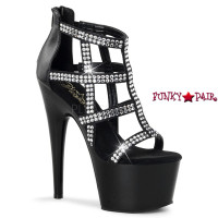 Adore-798, 7 Inch Rhinestones Cage Bootie Shoes