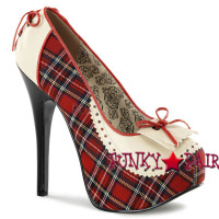 Teeze-26, 5.75 Inch High Heel Pump with Plaid