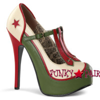 Teeze-43, 5.75 Inch High Heel with 1.75 Inch Platform Pump with Military Theme