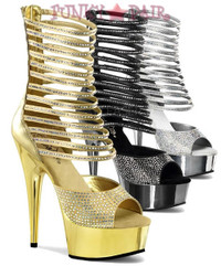 Delight-600-35, 6 inch high heel with 1.75 inch platform Ankle High Sandal with Rhinestones