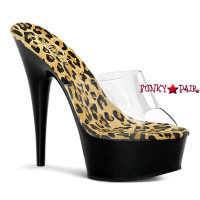 Delight-601-2, 6 Inch High Heel with 1.75 Inch Platform  Slide Leopard Print Insole Shoes