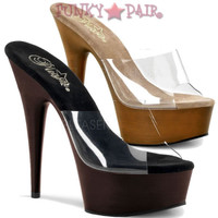 Delight-601FW, 6 Inch High Heel with 1.75 Inch Platform Slide Faux Wood Bottom