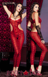 Snake Print Footless Bodystocking * ML-1122