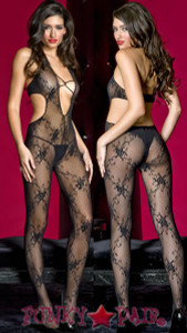 Deep V- lace Bodystocking * ML-1413