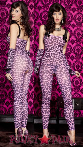 Animal Print Footless Bodystocking * ML-1123