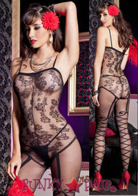 Floral Faux Teddy Bodystocking * ML-1762