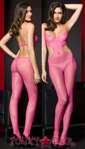 Hot Pink Lace Bodystocking * ML-1415