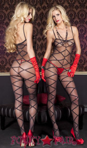 Criss Cross Sheer bodystocking * ML-1111