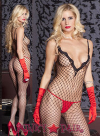 Lace Trimmed V-Neck Bodystocking * ML-1487