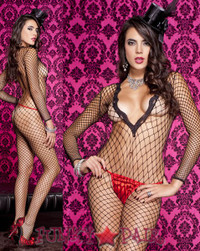 Long Sleeve Net Bodystocking * ML-1489