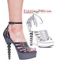 671-Josephina, 6 Inch High Heel with 1.75 Inch Platform Spherical Heel Sandal W/Silver Rivets. Made by ELLIE Shoes