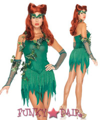 53 pc. Includes ivy trimmed dress with shredded shimmer skirt, fingerless gloves, and matching headband5