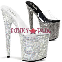 BEJEWELED-801DM, 8 Inch High Heel with 4 Inch Plaform with Rhinestones Shoes