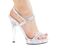 M-Diamond, 5 Inch High Heel with 1/2 Inch Platform Silver Bridal Shoes Made by ELLIE Shoes