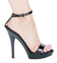 M-Eva, 5 Inch High Heel Black Crinkle Patent Shoes Made by ELLIE Shoes