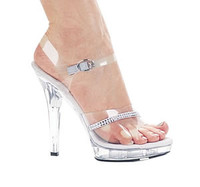 M-Jewel, 5 Inch High Heel with 3/4 Inch Platform Clear Bridal Shoes w/rhinestones Made by ELLIE Shoes