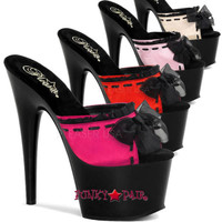 Adore-701-5, 7 Inch Stiletto Heel Mule with Lace and Bow