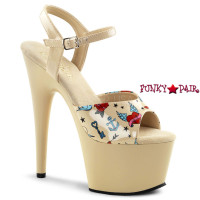 Adore-709PRT, 7 Inch Stiletto Heel Platform Tattoo Print On Upper Sandal