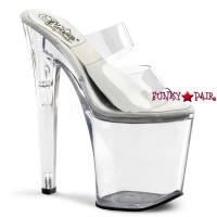 "SOL-802-D, 8 Inch High Heel with 4 Inch Platform Slide Double Strap with ""Sol"""