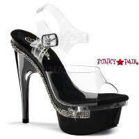 Royal-608, 6 inch high heel with 2 inch platform  Ankle Strap Sandal with Rhinestones