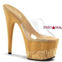 Adore-701FW, 7 Inch Stiletto Heel Platform Slide Faux Wood