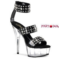 Delight-694, 6 inch stiletto heel with 1.75 inch platform Wide Tri-Band Sandal with Rhinestones